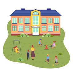 preschool building children and vector image