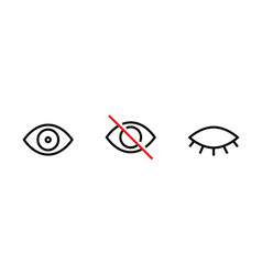Privacy icon abstract eye crossed and closed eye vector