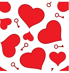 red hearts and keys seamless pattern vector image