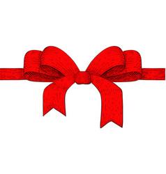 red ribbon bow hand drawn sketch vector image