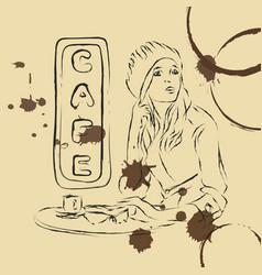 scetch woman in cafe vector image