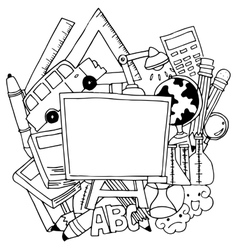 School tools doodle art vector