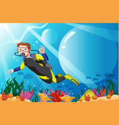Scuba diver in the ocean vector