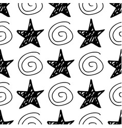 seamless star pattern hand-drawn stars and vector image