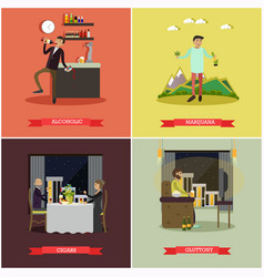 set bad habits concept posters in flat vector image