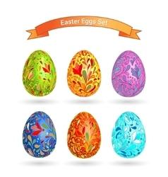 set color easter eggs doodle ornate pattern vector image