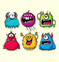 Set isolated funny furry monsters vector