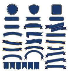 set of blue ribbon baner vector image