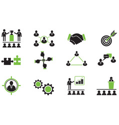 set of business working together icons vector image