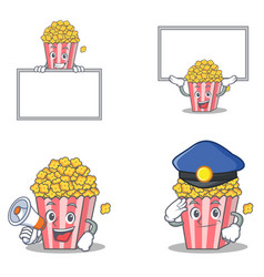 set of popcorn character with board megaphone vector image