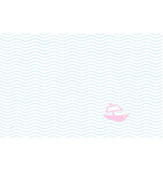 sketch tiny boat in ocean - striped wavy vector image