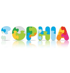 SOPHIA written with alphabet puzzle vector