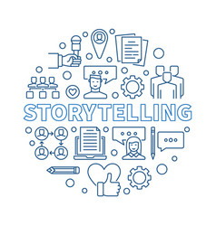 Storytelling round concept outline vector
