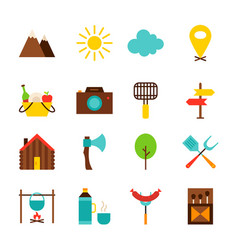 Summer camping objects vector