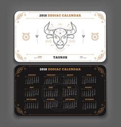 taurus 2018 year zodiac calendar pocket size vector image
