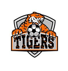tigers football shield mascot vector image