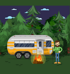 tourist camp poster with travel trailer vector image