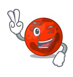 Two finger mars planet character cartoon vector