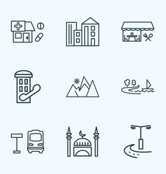 urban icons line style set with restaurant drug vector image