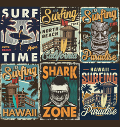 Vintage colorful surfing posters set vector
