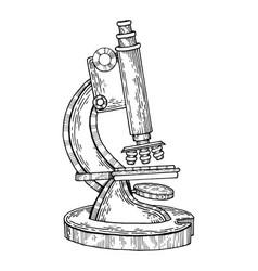 Vintage microscope engraving vector