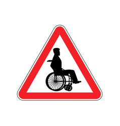 Warning invalid sign caution wheelchair on road vector