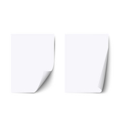 white blank sheet paper with curled corner and vector image