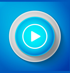 white play icon isolated on blue background vector image