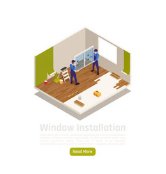 Window installation isometric composition vector