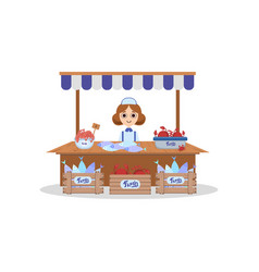 Wooden stall with freshness seafood saleswoman vector