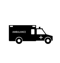 black and white emergency ambulance with siren vector image