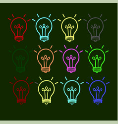 business icon of a light bulb on a green vector image vector image
