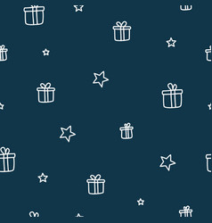 chistmas gifts and stars dark blue seamless vector image vector image