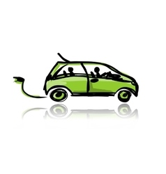 Electric eco car sketch for your design vector image vector image