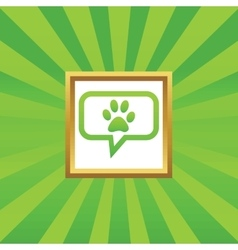 Paw message picture icon vector