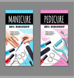 Pedicure and manicure banners set vector
