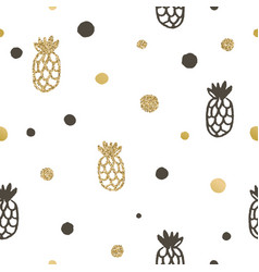 pineapple and dots seamless pattern vector image vector image