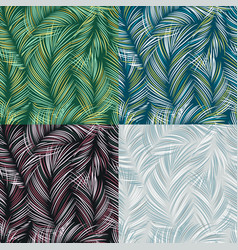 set of tropical leaves seamless textured pattern vector image vector image