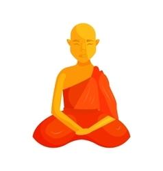 Buddhist monk icon cartoon style vector image