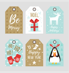 christmas and new year tags vector image vector image
