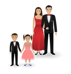 couple and two kids in elegant clothes vector image vector image