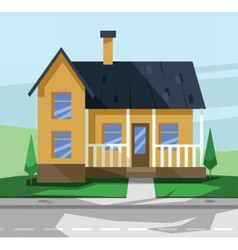 flat style yellow two floor house vector image