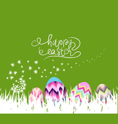 happy easter eggs spring background with white vector image vector image