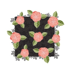 Pink roses on a dark square vector image vector image