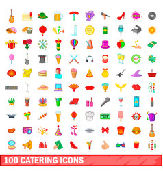 100 catering icons set cartoon style vector image vector image