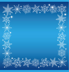 a snowflake square frame with a blue background vector image vector image