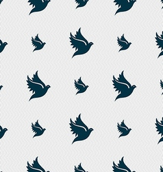 Dove icon sign Seamless pattern with geometric vector image vector image