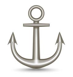 Realistic single metal anchor vector