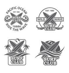 set of surfing emblems vector image