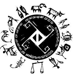 Western Primitive Zodiac vector image